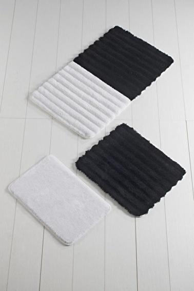Chilai Home Soft 3'lü Set Klozet Takımı Akrilik Banyo Paspası Siyah